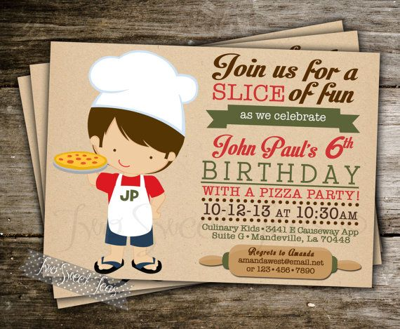 Pizza Party Invitation -- All the kids can make pizza at the party. Put on sauce, cheese, and toppings.