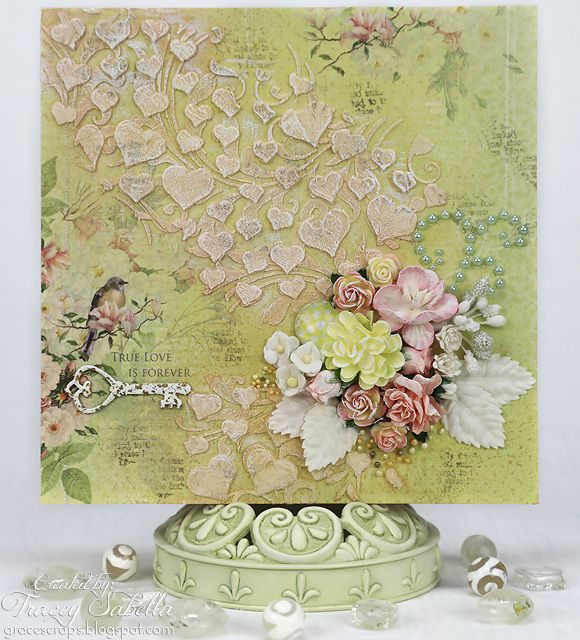 Gorgeous anniversary card for celebrating love made by Tracey Sabella. She's the queen of shabby chic for sure.
