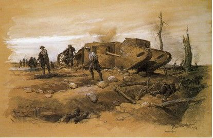 A watercolour painting by Jean Berne-Bellecour (1874-1939)  Sir John Dashwood s tank C13 lying in Angle Wood Valley. The painting represents one of the tanks that went into action on 15 September 1916.