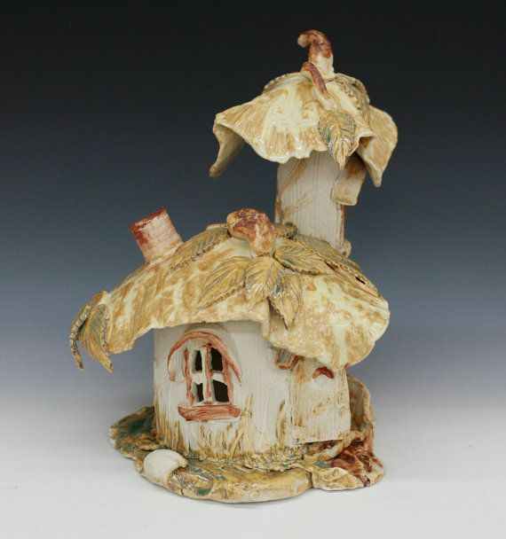 Ceramic Porcelain 2 Turret Fairy Garden House by RJMceramics, $125.00