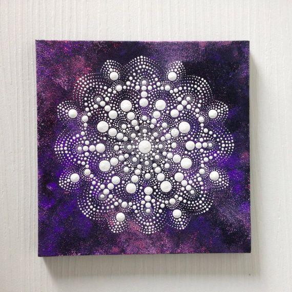 Original Dotart White en púrpura pintura de Mandala en la lona, pintura de 20x20cm, oficina y hogar adornan decoración regalo Dotilism Henna Ar