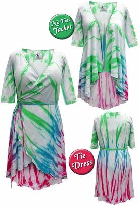 74662a3adf0 Plus Size Colorful Rainbow Tie Dye Print Cascading Wrap Dresses ...