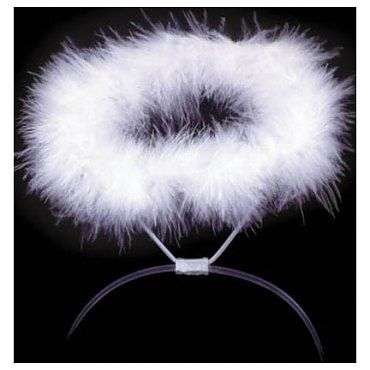 Picture only - Angel Halo:  DIY:  Duct tape, Pipe Cleaner, fur wrapped around pipe cleaners.  Or Make something similar, using a Glow in the Dark Necklace. Turn on just before you go outside.