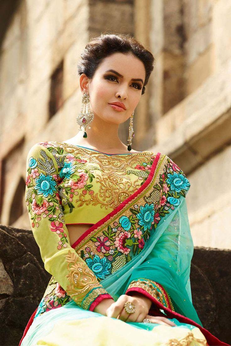 Buy Yellow Net Wedding Saree Online Shopping USA