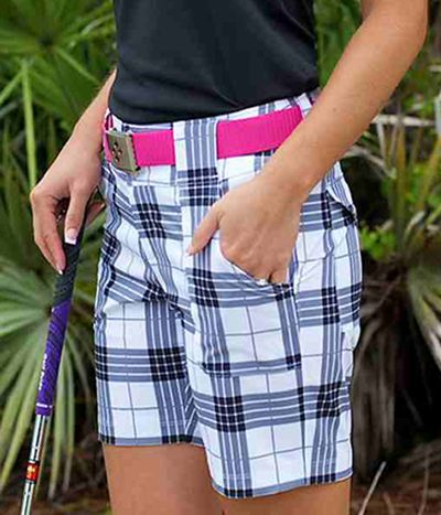 Black Plaid JoFit Ladies Belted Golf Shorts at #LorisGolfShoppe