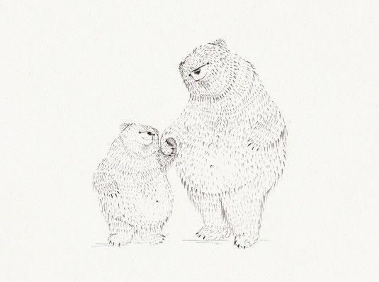 Postkarte Großer Bär und kleiner Bär von bär von pappe auf DaWanda.com