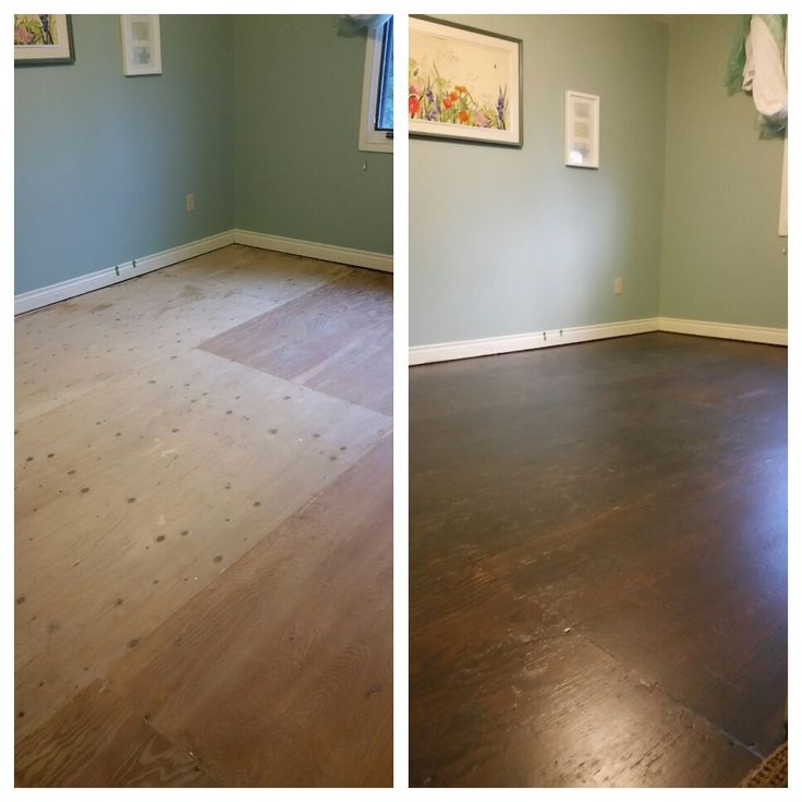 Plywood subfloors refinished (wood filler used in cracks, floor fully sanded, stained with one coat of urban grey, and three coats of finish)