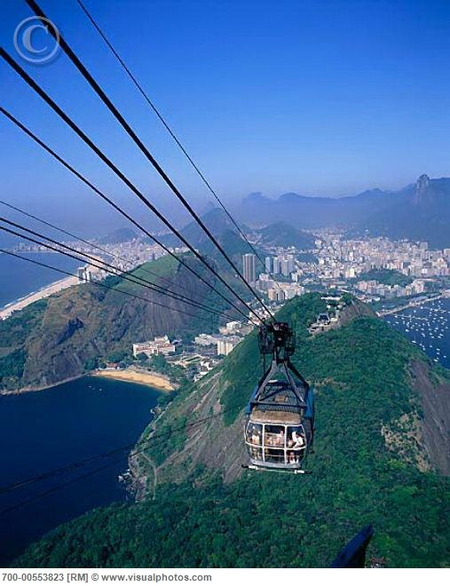 Cable car headed up to Sugar Loaf in Rio de Janeiro