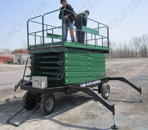 Hydraulic lift table here is with 10m platform height. Moved by manual labor. One person can move it easily indoor or outside. If interested, let's talk more online, Skype: mf.sinicmech.com.  http://sinolifter.com/mobile-scissor-lift/hydraulic-lift-table-10m.html