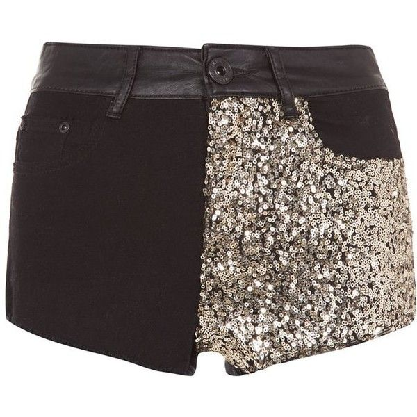 Parisian Black Sequin Contrast Shorts (15,225 KRW) ❤ liked on Polyvore featuring shorts, bottoms, gold, gold shorts, zipper shorts, bandeau tops, gold sequin shorts and sequin shorts