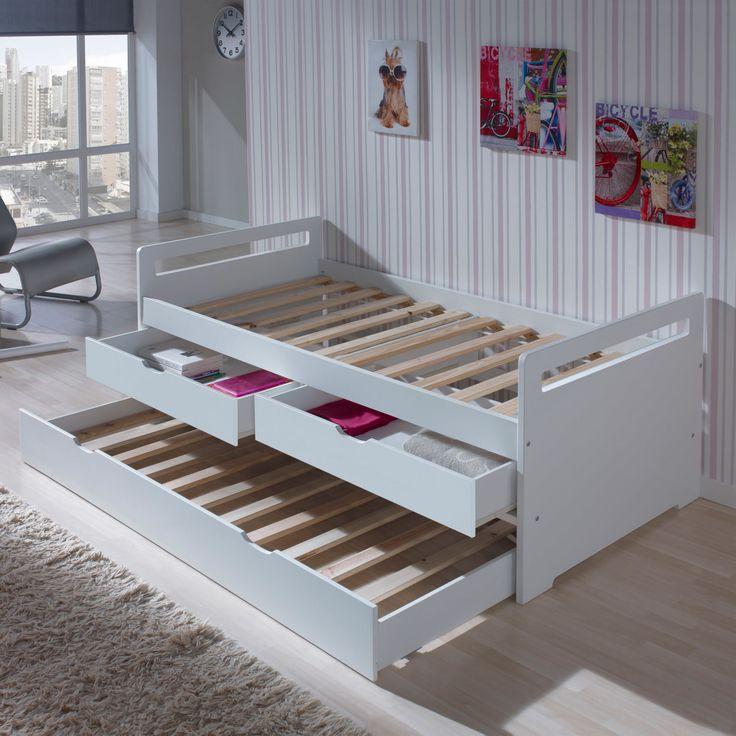 Lit gigogne en bois 90x190 cm avec sommiers à lattes et 2 tiroirs Ancolie Blanc I-5569-BL - I-5569-BL
