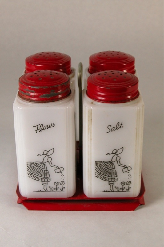 milk glass range set.. salt, pepper, flour, sugar & stand