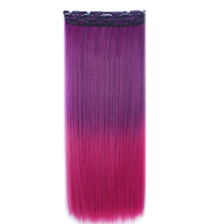 Wholesale color wig hair extension piece a five-card straight hair gradient hair piece long straight hair piece hair extension Q16 PURPLE GRADIENT RED ROSES
