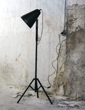 textured wall + black floor lamp +