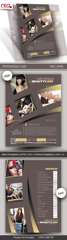 Poster design dimensions - Salon Spa Flyer Poster Template