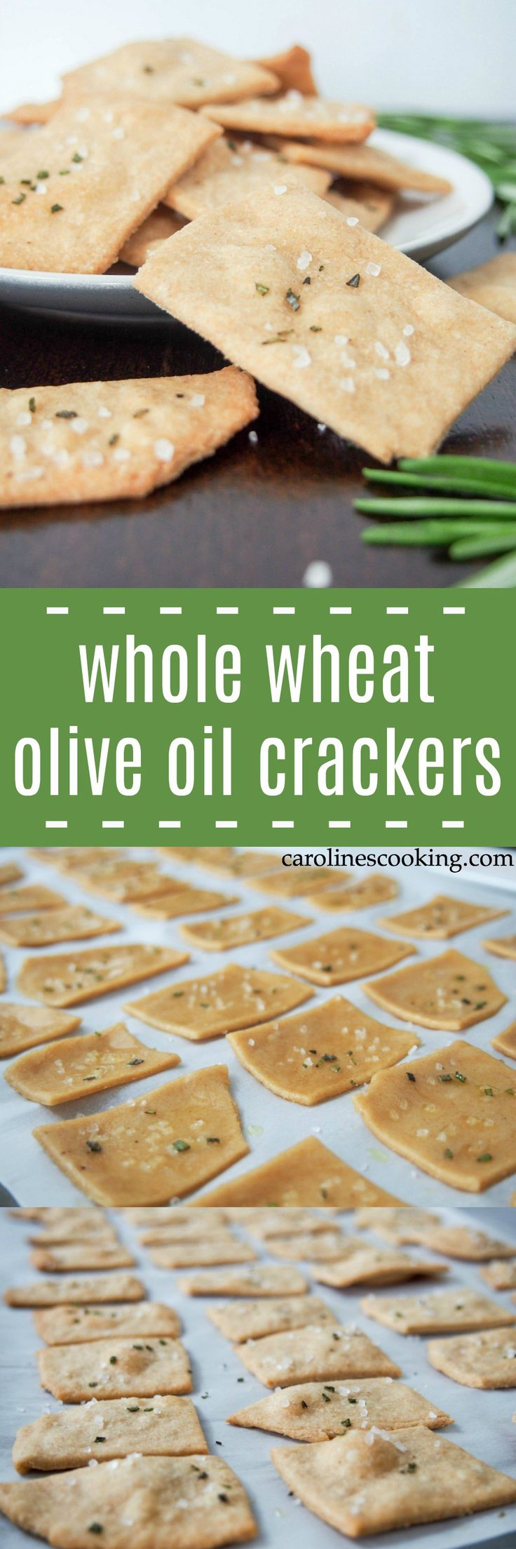 These whole wheat olive oil crackers are easy to make with a wonderful flavor and crisp texture. Perfect for snacking, dipping or top with cheese. vegan AD