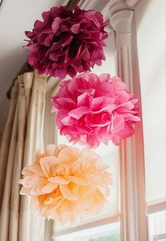 21 DIY Outdoor & Hanging Decor Ideas | Confetti Daydreams - Get the DIY for these DIY Tissue Paper Pom-Poms ♥ #DIY #OutdoorDecor #HangingDecor
