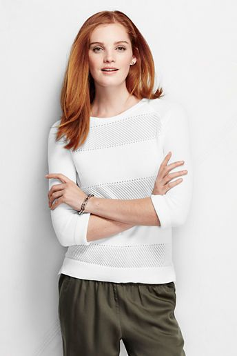 Lands' End Women's 3/4-sleeve Supima Placed Pointelle Sweater on shopstyle.com.au