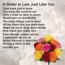 Sister in Law Poems Free | ... Coaster - Sister in Law Poem, Flowers Design + FREE GIFT BOX