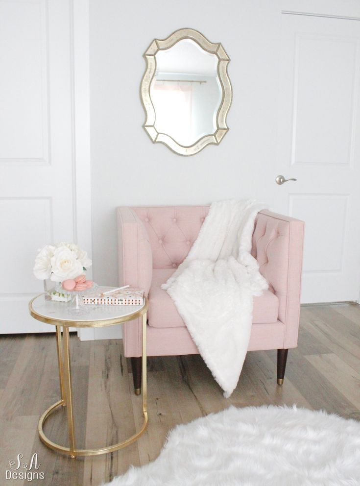 Blush And Gold Glam Office Reveal #blushpink #office #officedesign #officedecor #glam
