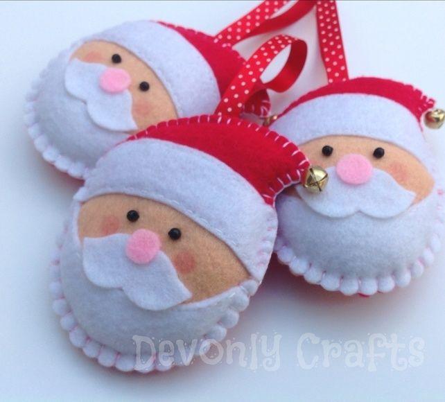 x3 Christmas Jingle Bell Santa Claus Felt Decorations, Ornaments