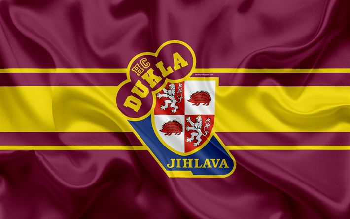Download wallpapers Jihlava HC, 4k, Czech hockey club, HC Dukla Jihlava, emblem, logo, Extraliga, silk flag, hockey, Jihlava, Czech Republic