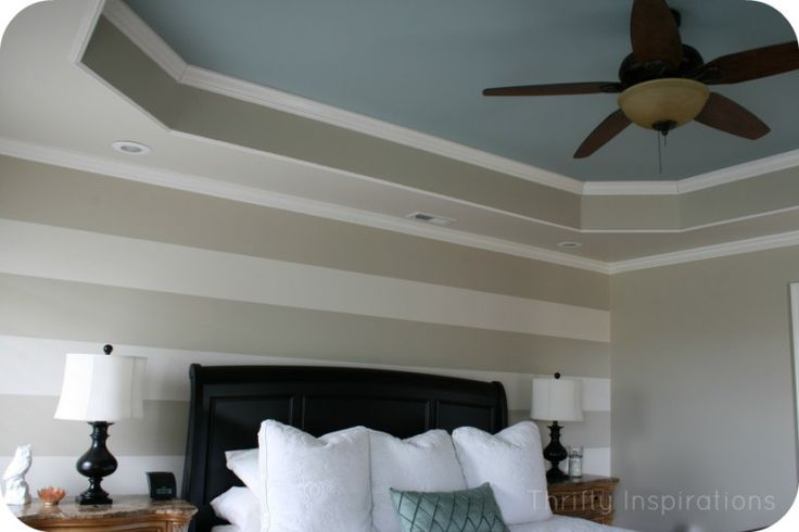 Painted Tray Ceiling In Master Bedroom. Love the neutral stripe with accent color in the ceiling.
