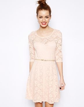 Image 1 of New Look 3/4 Sleeve Lace Skater Dress