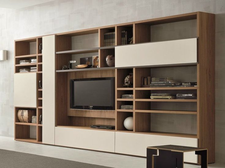 Walnut TV wall system SPEED H Speed Collection by Dall'Agnese | design Imago Design, Massimo Rosa