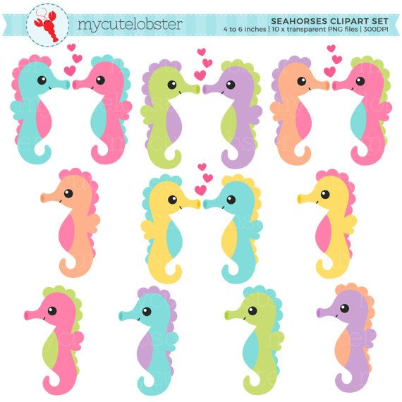 Seahorses Clipart Set Seahorse Clip Art Set Sea Animals Ocean Love Valentines Personal Use Small Commercial Use Instant Download Clip Art Animal Clipart Art Set