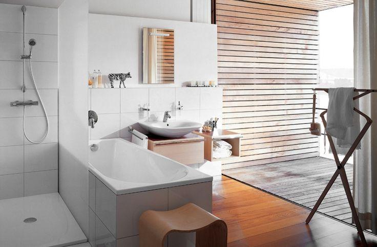 imagenes banos modernos ducha banera suelo madera ideas
