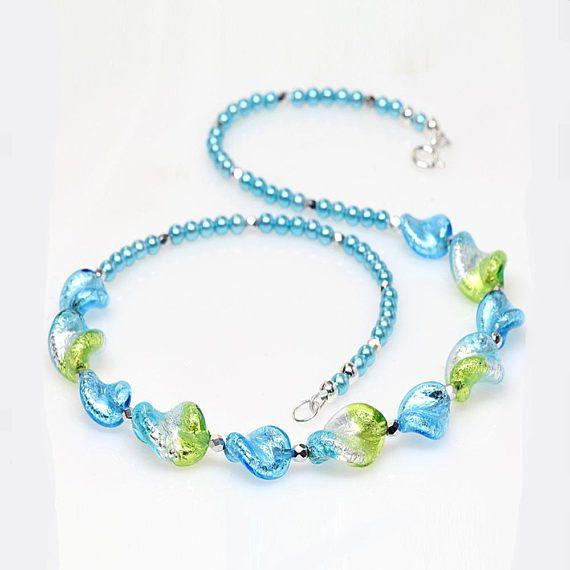 Aqua Lime Silver Venetian Murano Glass Necklace Murano Glass