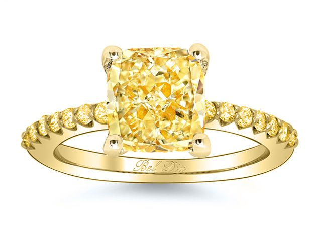 possible engagement ring Yellow Diamond Engagement Ring with Yellow Diamond Accents