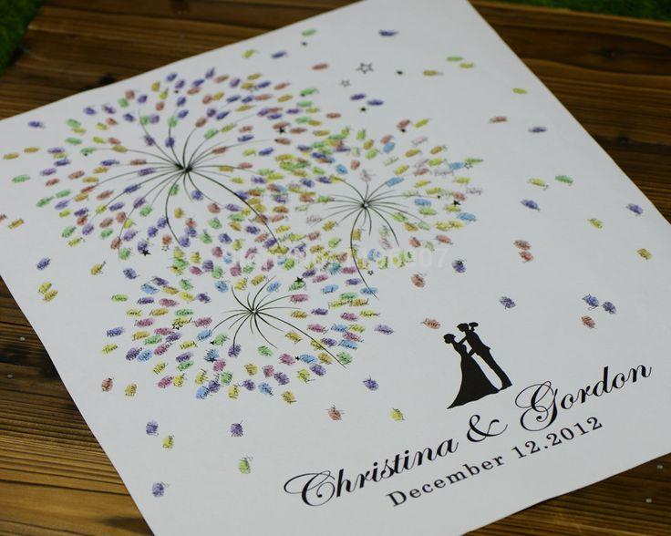 50 x 70 CM de fuegos artificiales imprime la boda libro de invitados árbol de la huella digital Wedding Guest book personalizar boda regalos para ceremonia de la boda(China (Mainland))