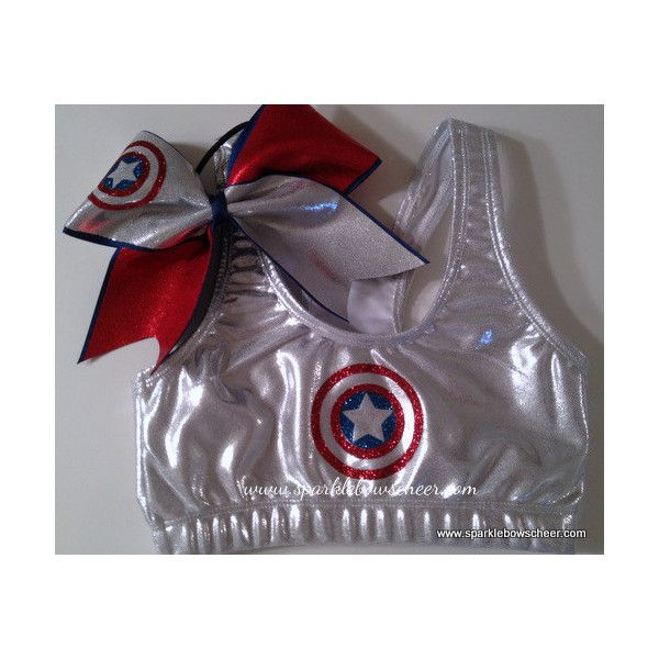 Captain America Super Hero Metallic Sports Bra and Bow Set... ($35) ❤ liked on Polyvore featuring activewear, sports bras, cheer, grey, women's clothing, metallic sports bra and athletic sportswear