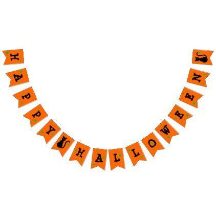 Black Cat Halloween Bunting Banner - Halloween happyhalloween festival party holiday