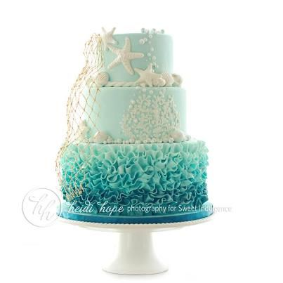 Ombre Ocean Cake...would be great in coral tones, too!