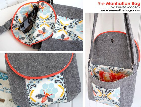 *** This is a PDF sewing pattern only, you will not be send the actual bag. You will need Adobe Reader to open the pattern files The Manhattan Bag pattern includes instructions for a gorgeous shoulder bag in 2 sizes (Mamma & Miss), as well as additional instructions for aRemovable Case