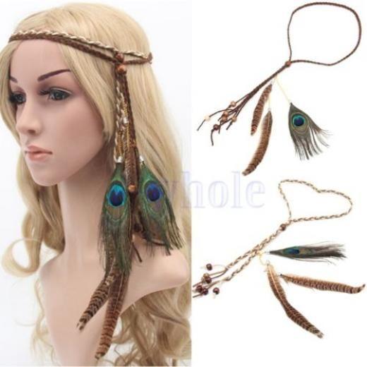 Indian Feather Headband Handmade Weave Feathers Hair Rope Headpiece Hairband Tw