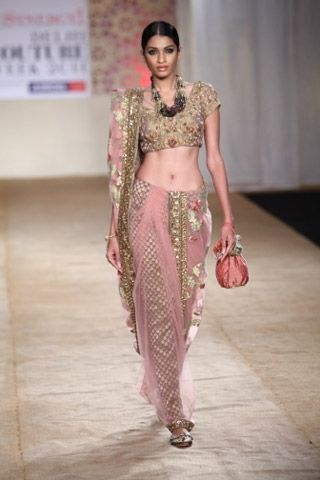 Ashima-Leena - net sari over a sequined petticoat! | Vogue INDIA