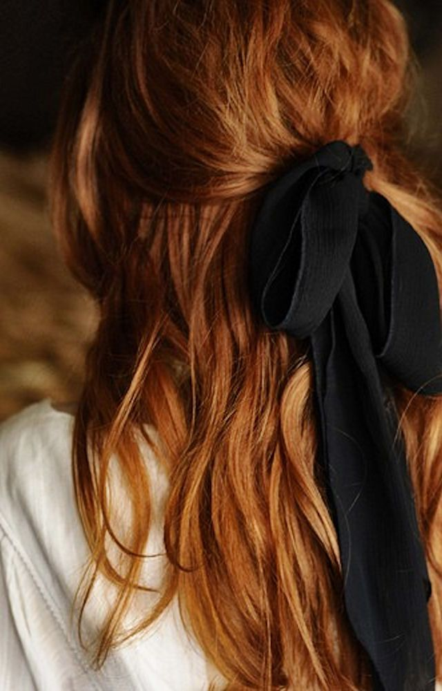 effortless #cute #hair #red #bow #pullback #elegant #waves
