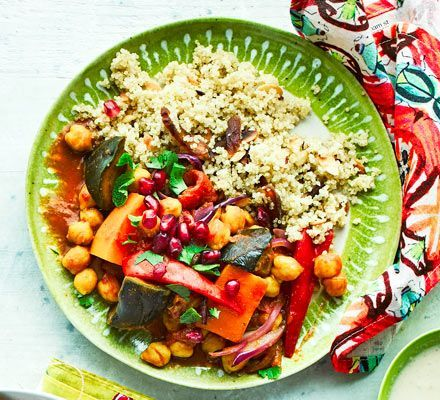 Vegetable tagine with apricot quinoa: Niomi Smart's beautifully vibrant vegan recipe is a good source of iron and gives you all 5 of your 5-a-day! Make good use of seasonal vegetables and spices.