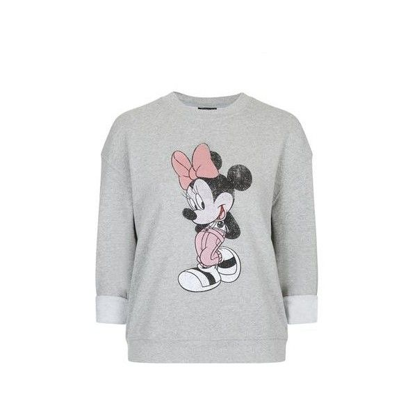 TopShop Vintage Minnie Mouse Sweatshirt ($43) ❤ liked on Polyvore featuring tops, hoodies, sweatshirts, grey marl, relaxed fit tops, topshop tops, vintage sweatshirt, grey sweatshirt and gray sweatshirt