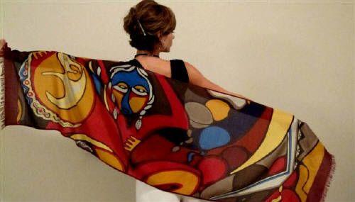 Printed scarves, wearable art by Daphne Odjig (Ojibwe)