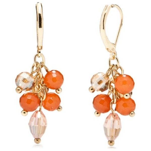 Napier Orange Goldtone And Pink Leverback Cluster Drop Earrings ($4.79) ❤ liked on Polyvore featuring jewelry, earrings, orange, orange earrings, cluster drop earrings, napier, snap button jewelry and pink jewelry