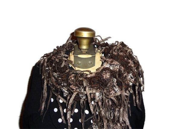 Funky Brown Ruffle Scarf Handmade Knitted by chrysalisjewelrytx, $24.99