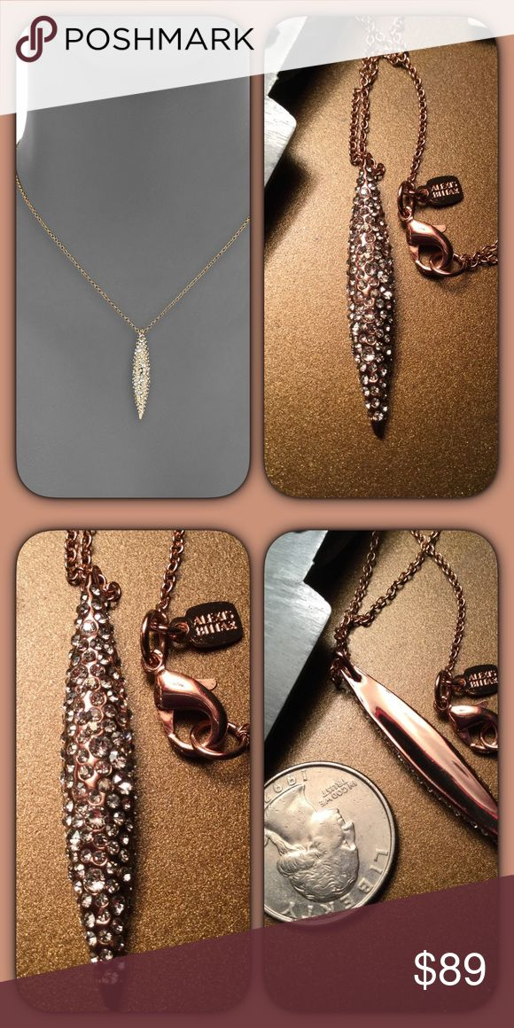 "Rose Gold Encrusted Crystal Spear Necklace Alexis Bittar brings us an edgy, and very wearable rose gold spear encrusted with glittering Crystal in a thoroughly modern necklace. 16"" with 3"" extender Pendant 1.5"" Length, .25"" Width the first photo on the cover left hand side is the same style in yellow gold. The others are the actual necklace. This style is still for sale on the brand website for full retail $125. This did not come with the brand tag but a hang tag. Alexis Bittar Jewelry…"