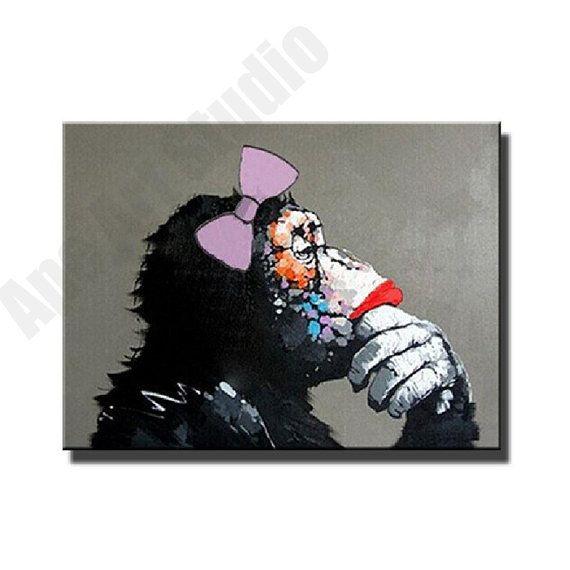 Thinking Apechimp lady oil paintingoriginal large by ApeArtStudio