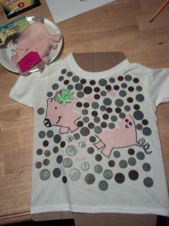100th day of school shirt! Broken felt piggy bank with plastic coins
