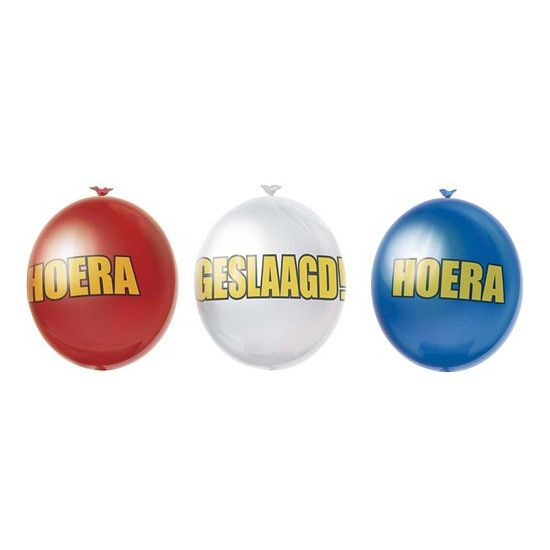 Geslaagd versiering ballonnen 10 stuks. Rood, wit met blauwe geslaagd ballonnen van ongeveer 27 cm. De ballonnen worden geleverd in een zakje van 10 ballonnen.